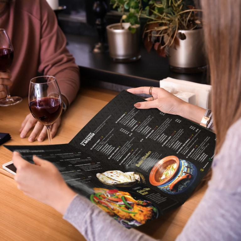 Projekt graficzny menu restauracji zaprojektowanego w Studio Graficznym Wzór