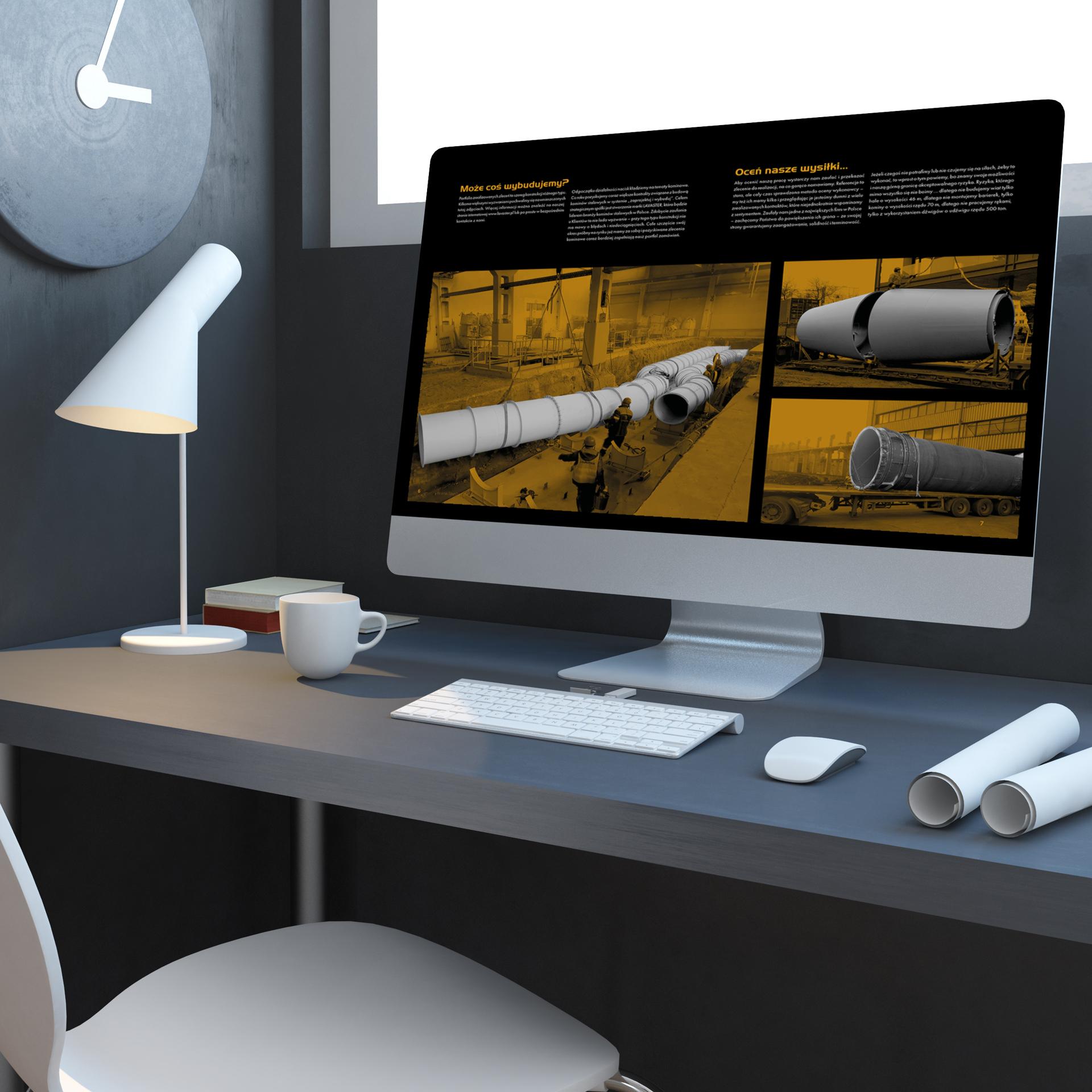Komputer z wyświetlonym katalogiem firmy Lavaster
