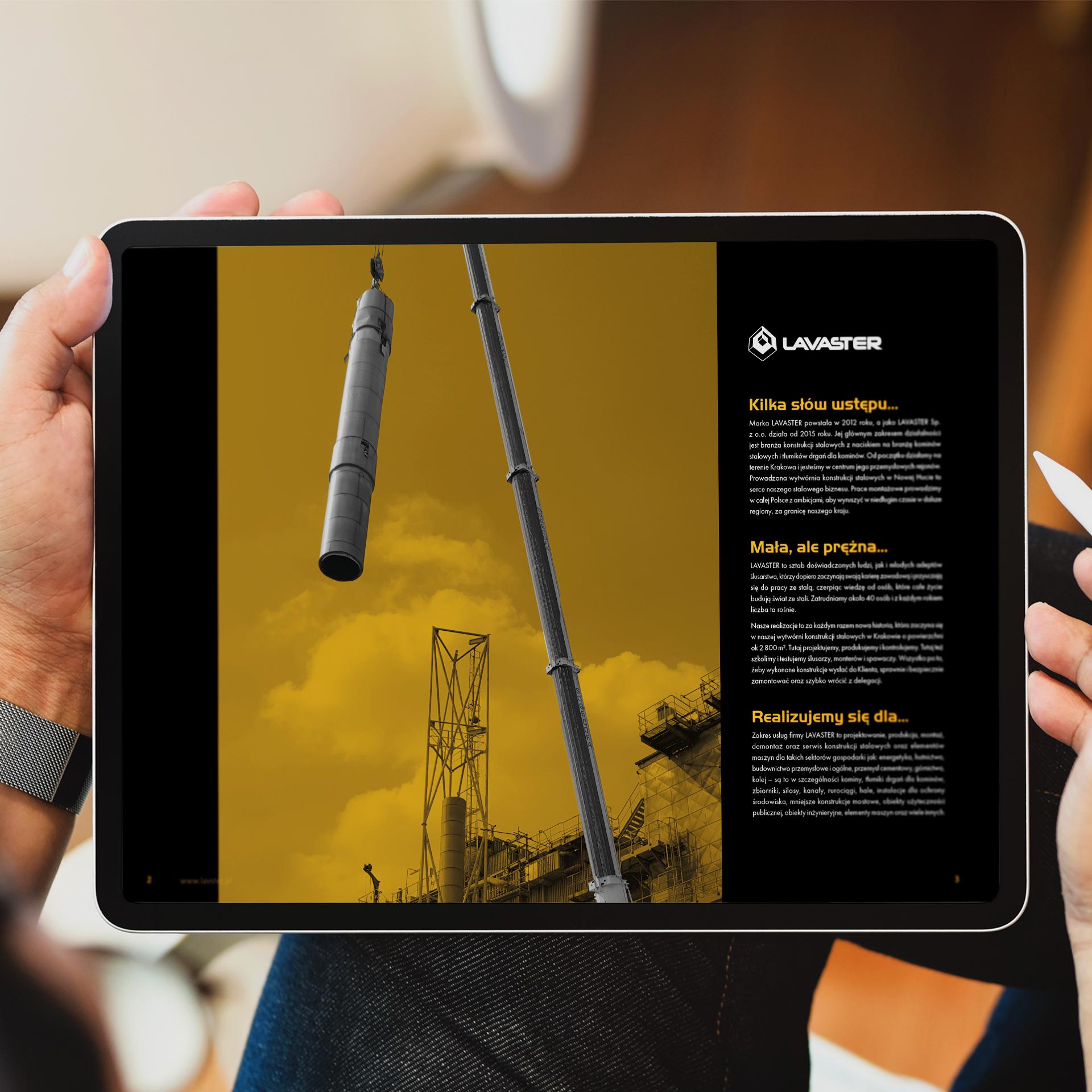 Tablet z wyświetlonym katalogiem usług firmy Lavaster