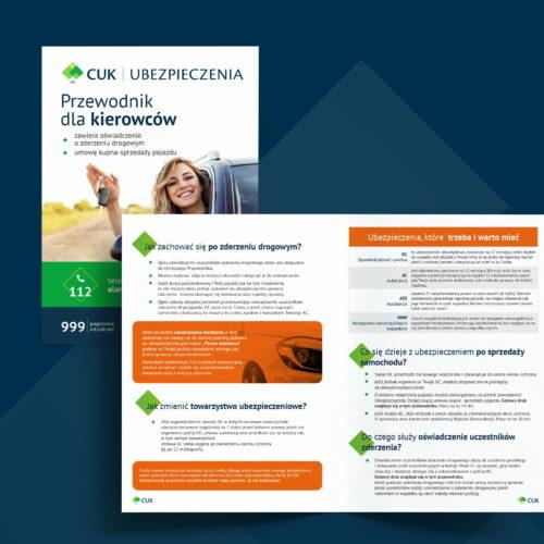 Prezentacja projektu ulotki reklamującej usługi firmy ubezpieczeniowej CUK Ubezpieczenia