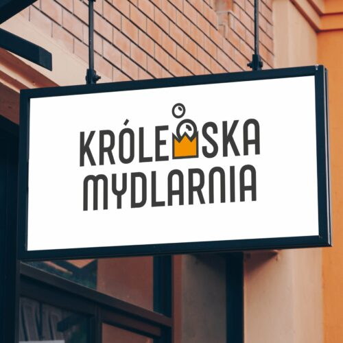 Szyld z projektem logo firmy Królewska Mydlarnia