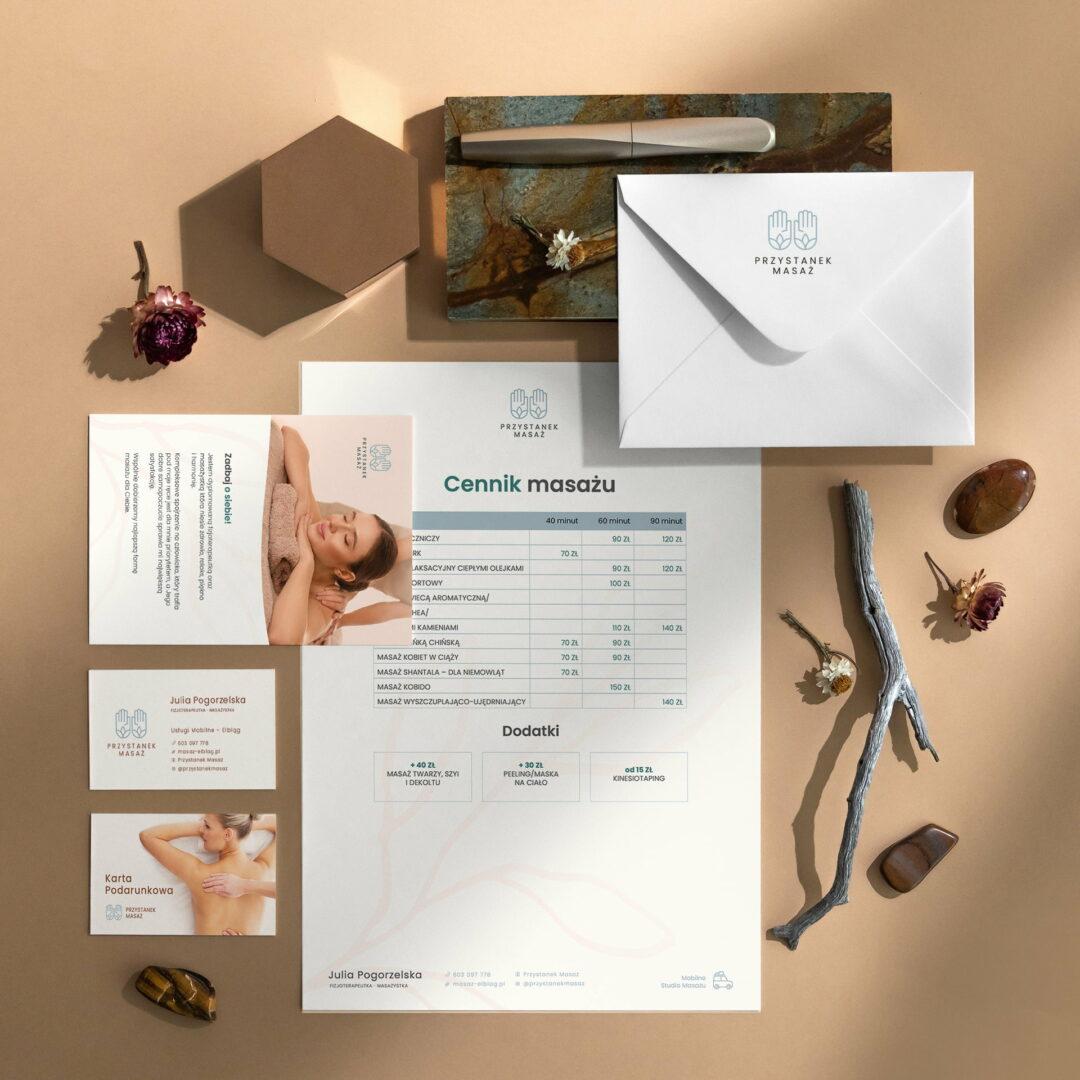 Identyfikacja wizualna masażystki prowadzącej firmę Przystanek Masaż