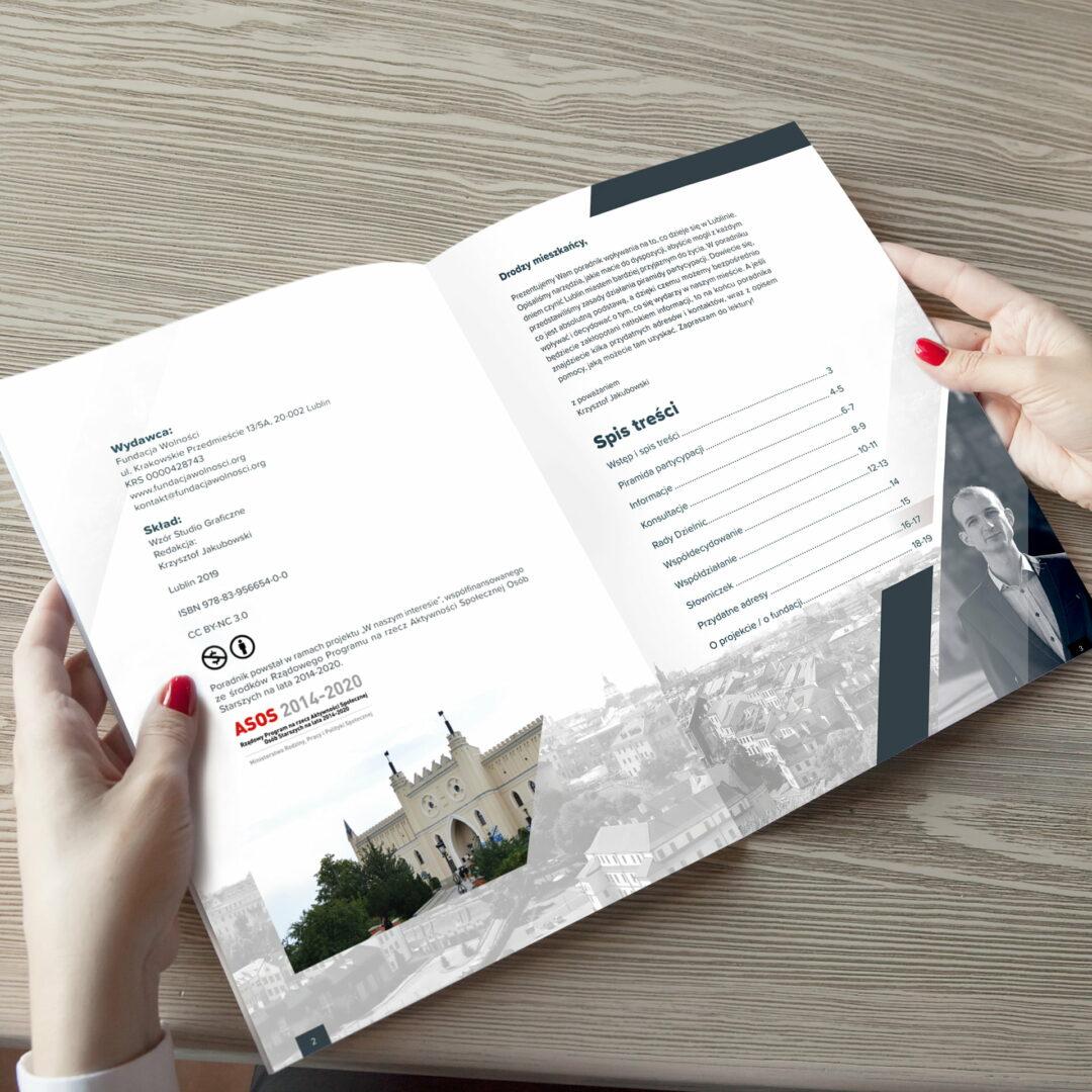 Wizualizacja projektu graficznego poradnika dla mieszkańców Lublina Fundacji Wolności