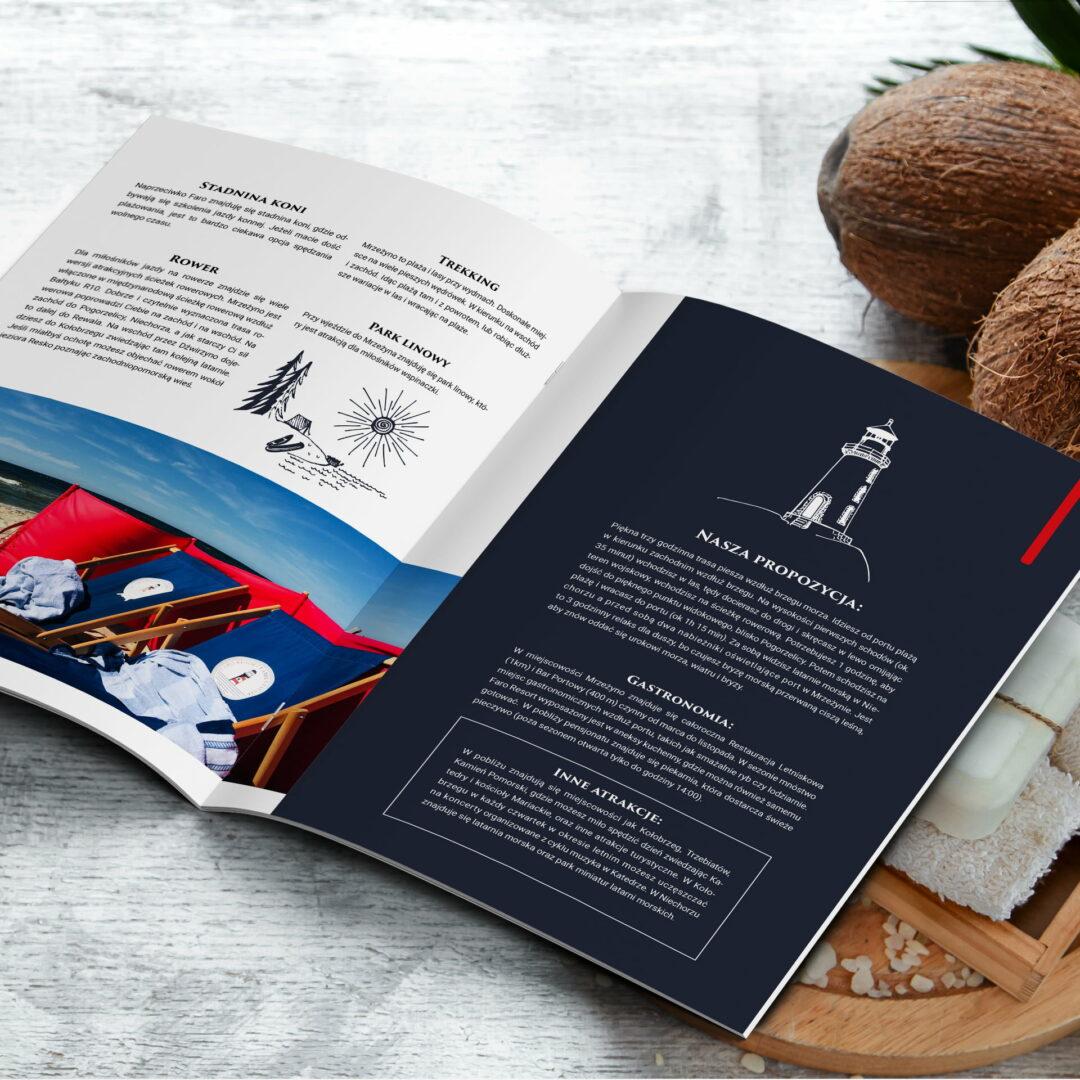 Wizualizacja projektu graficznego informatora dla gości hotelu Faro Resort