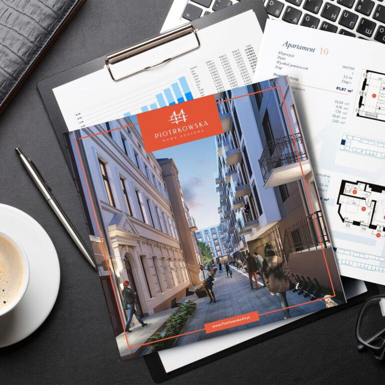 Wizualizacja projektu graficznego folderu mieszkaniowego firmy Vision Invest