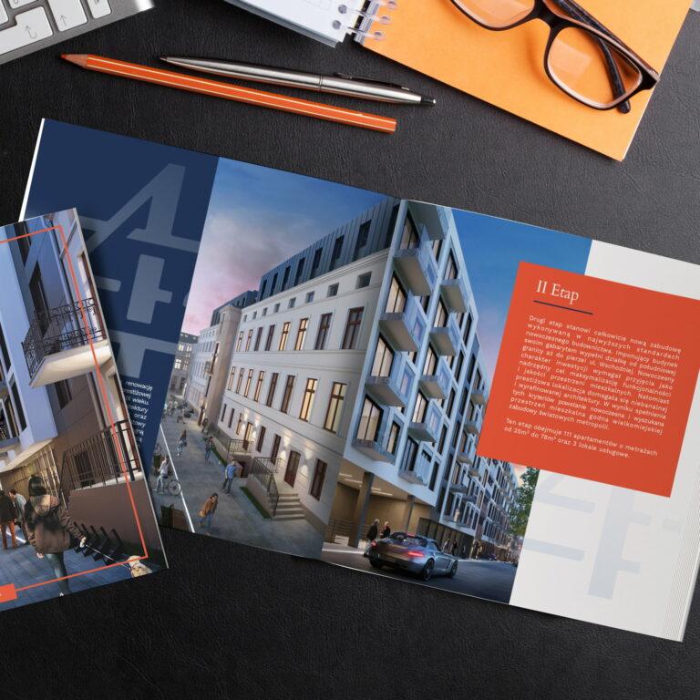 Projekt folderu reklamowego z mieszkaniami w kamienicy firmy Vision Invest