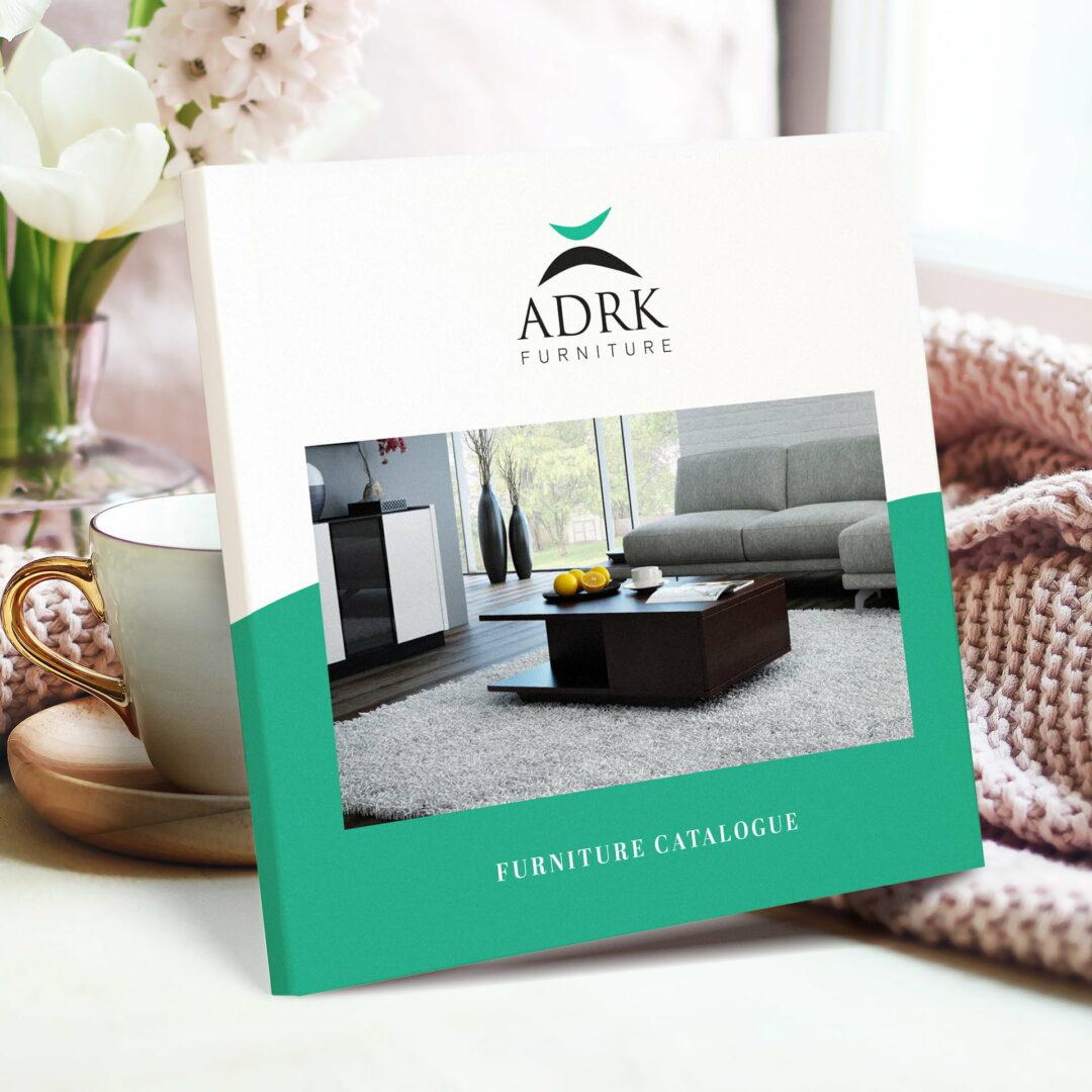 Katalog z meblami, zaprojektowany dla firmy ADRK Furniture przez studio Graficzne Wzór