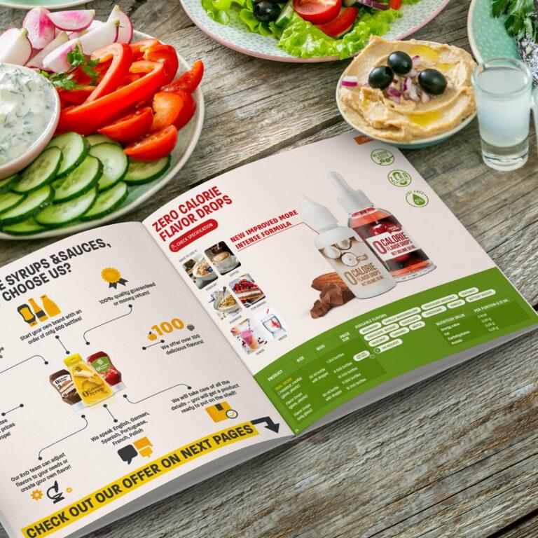 Prezentacja projektu katalogu firmy spożywczej Amerpharma na tle warzyw