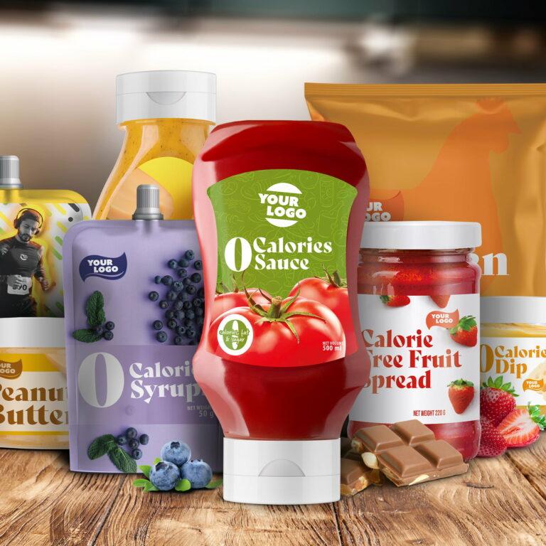 Wizualizacja opakowań produktów firmy spożywczej Amerpharma