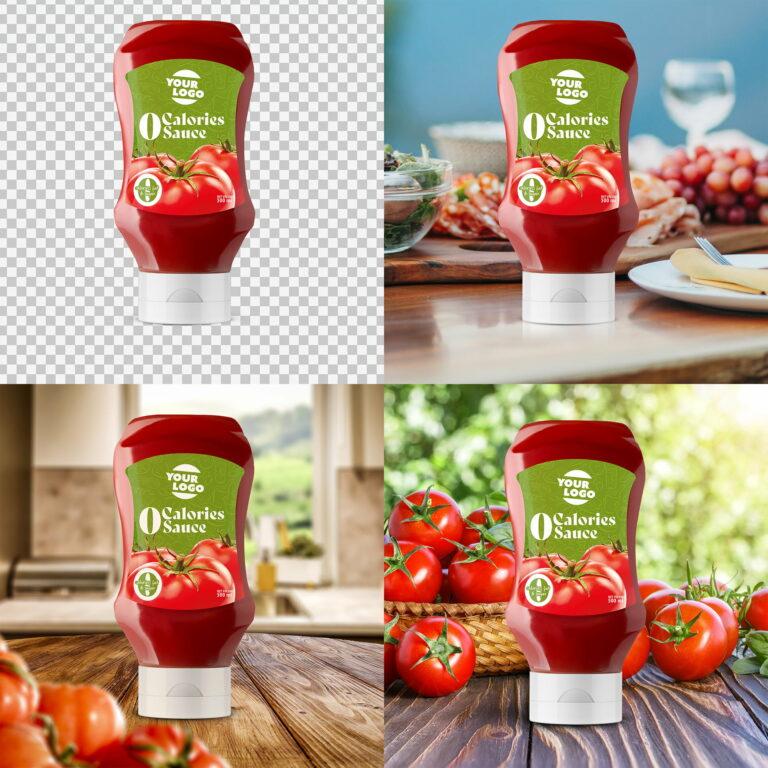 Prezentacja opakowania ketchupu marki Amerpharma w różnych sceneriach