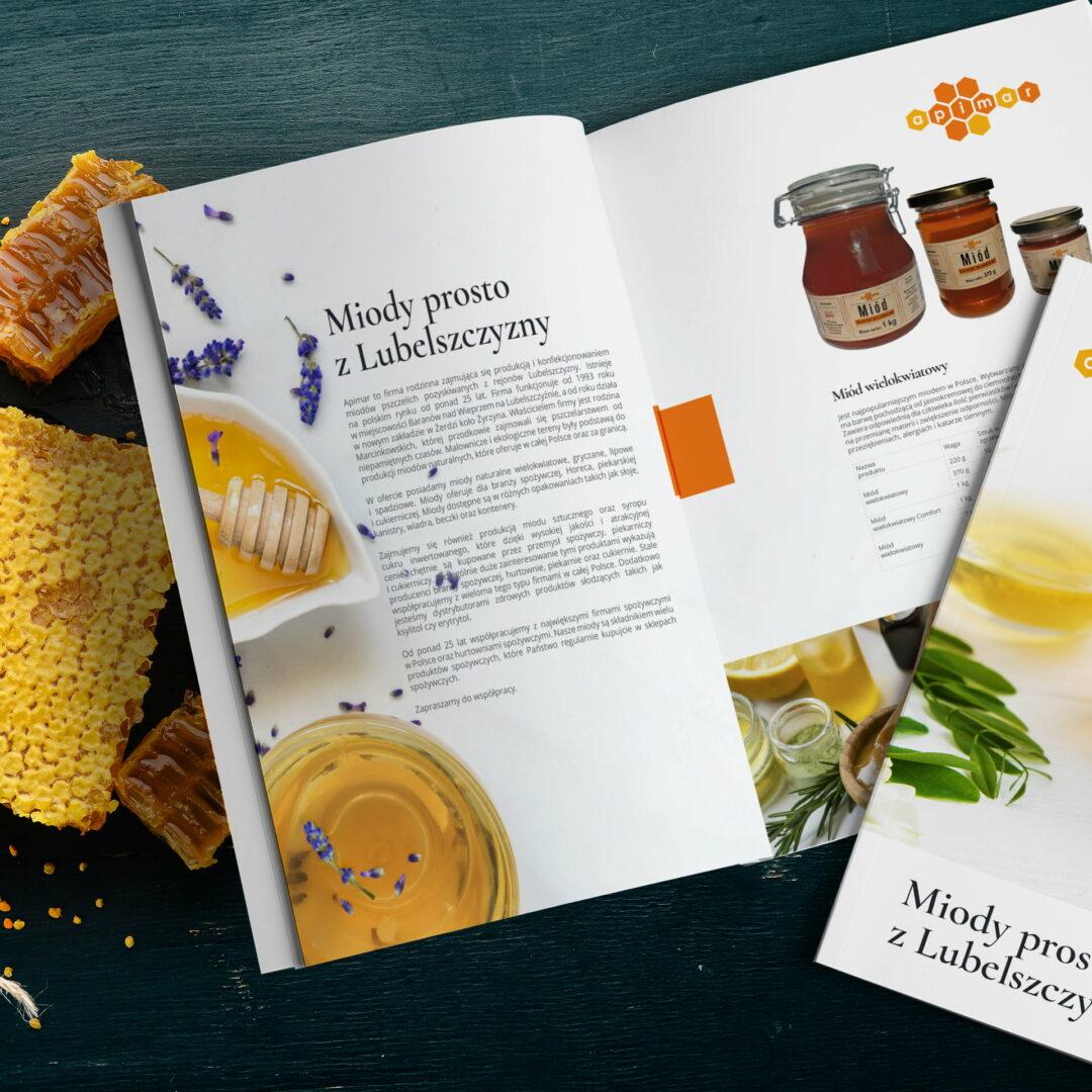 Projekt graficzny katalogu przygotowanego przez Studio Graficzne Wzór dla producenta miodu Apimar