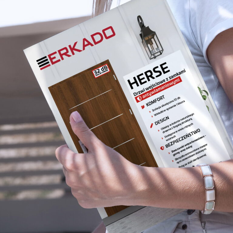 Wizualizacja projektu broszury z drzwiami marki Erkado