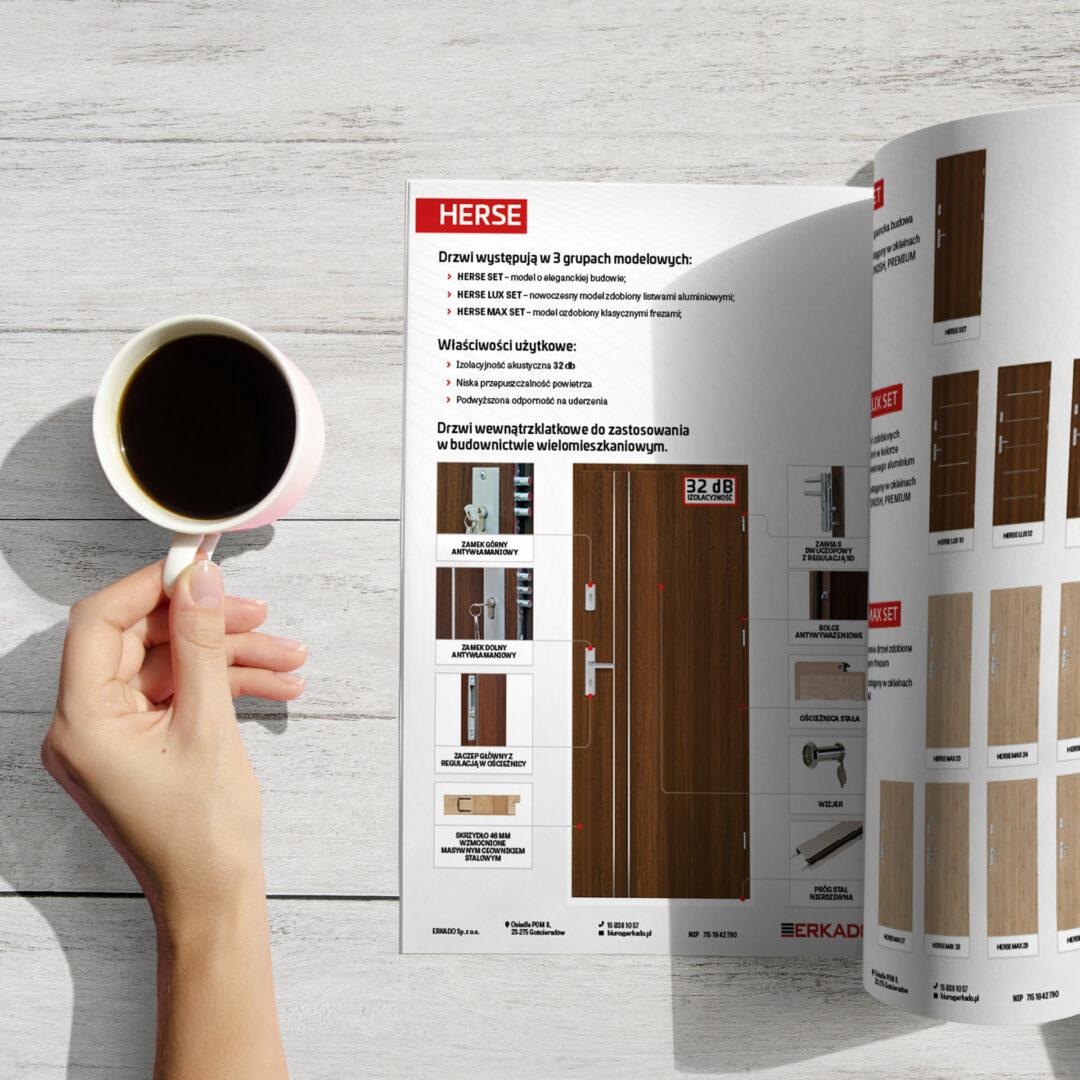 Wizualizacja katalogu z produktami marki Erkado - producenta drzwi