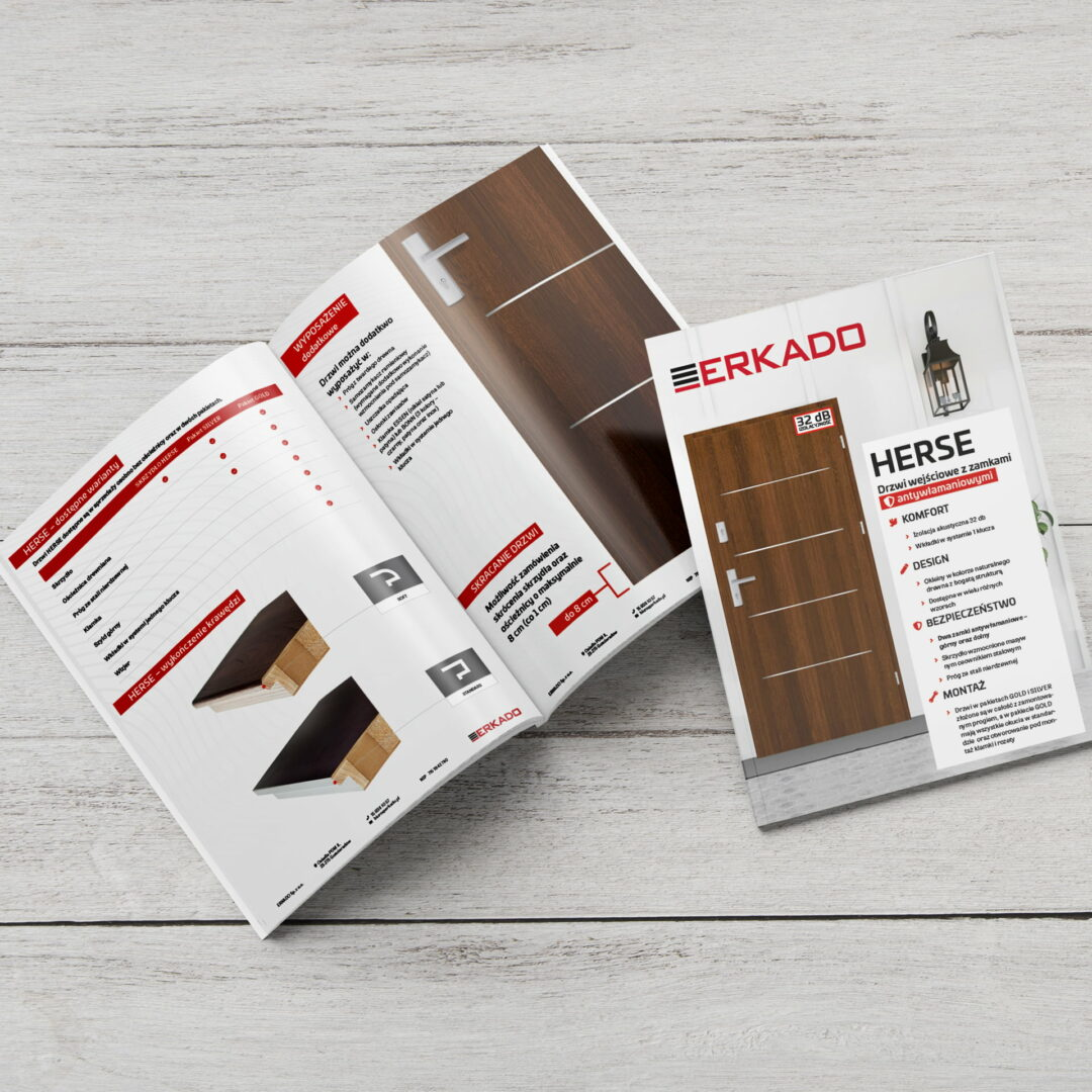 Katalogi promujące ofertę drzwi firmy Erkado