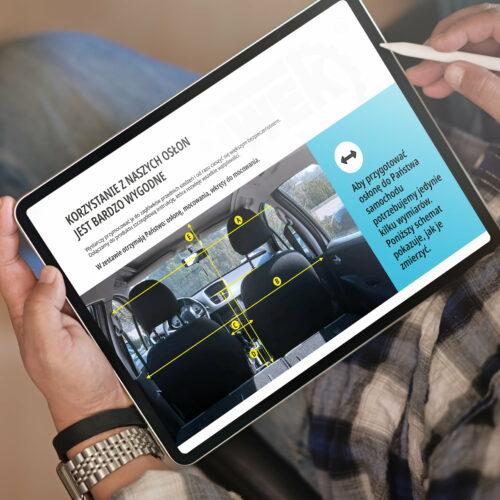 Wizualizacja projektu graficznego folderu z osłonami do taksówek Piwek