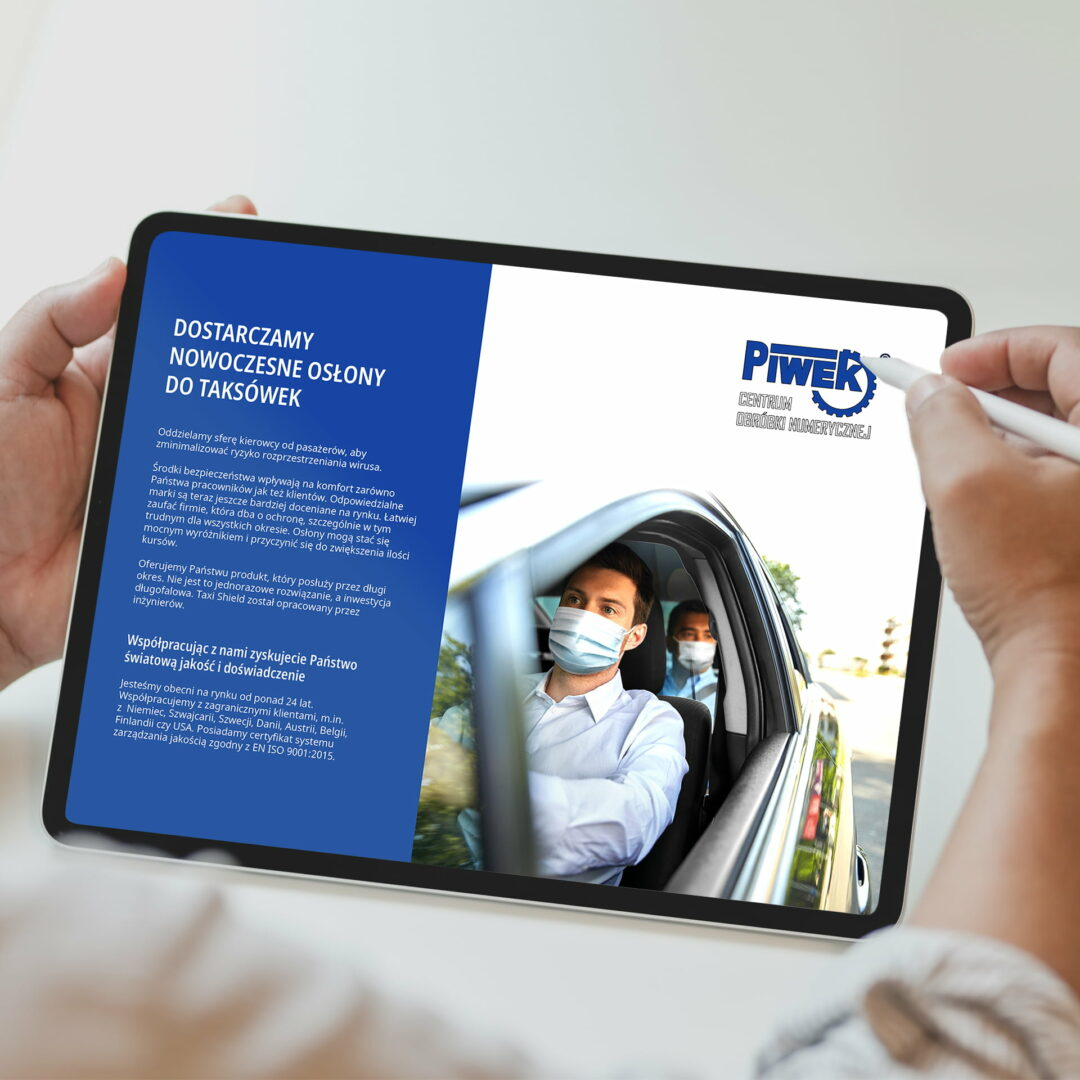 Wersja elektroniczna projektu broszury z osłonami do taksówek Piwek