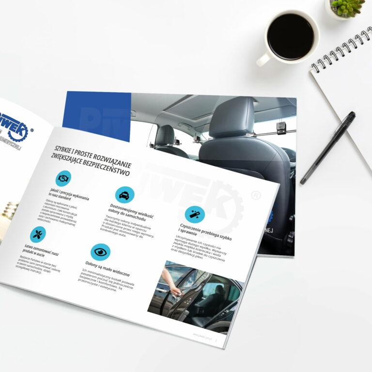 Projekt broszury z osłonami do taksówek Piwek