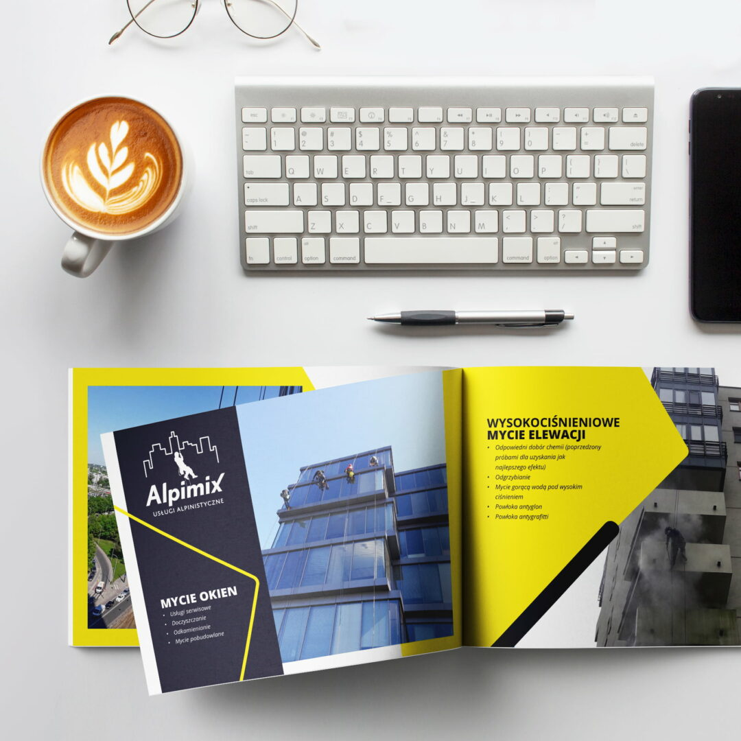 Prezentacja projektu graficznego katalogu z usługami firmy Alpimix