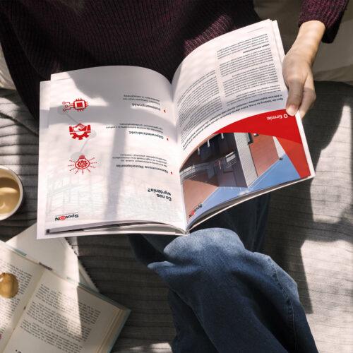 Wizualizacja projektu katalogu materiałów budowlanych, stworzonych przez Studio Graficzne Wzór dla firmy Spot-On