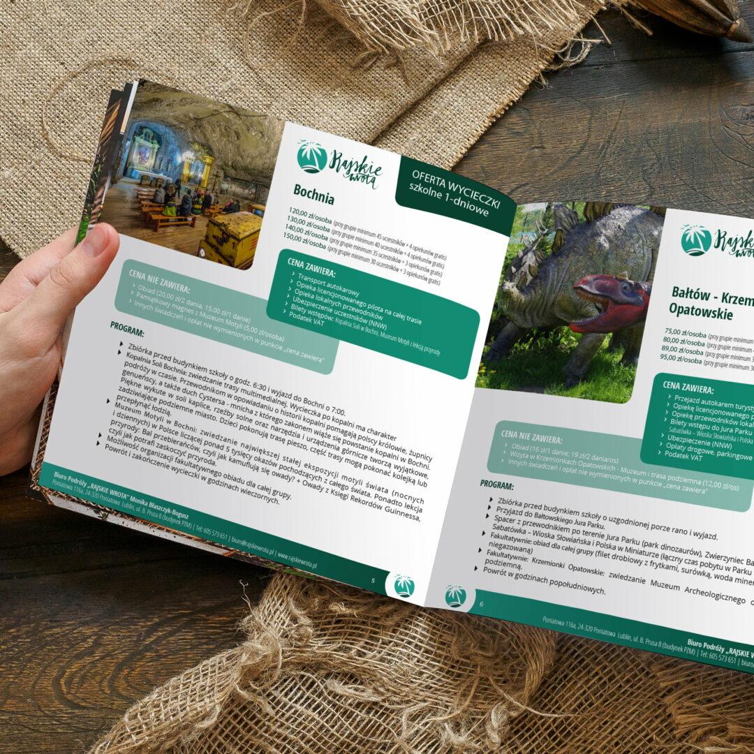 Prezentacja projektu graficznego katalogu z ofertą wycieczek firmy Rajskie Wrota