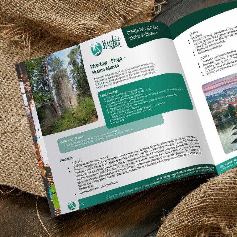 Projekt graficzny katalogu wycieczek Rajskie Wrota