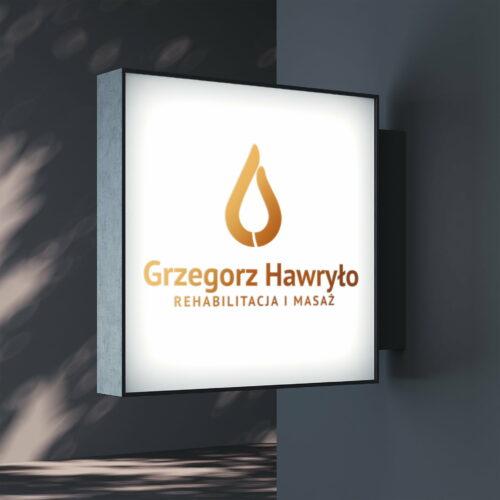 Banner z projektem logo fizjoterapeuty Hawryło