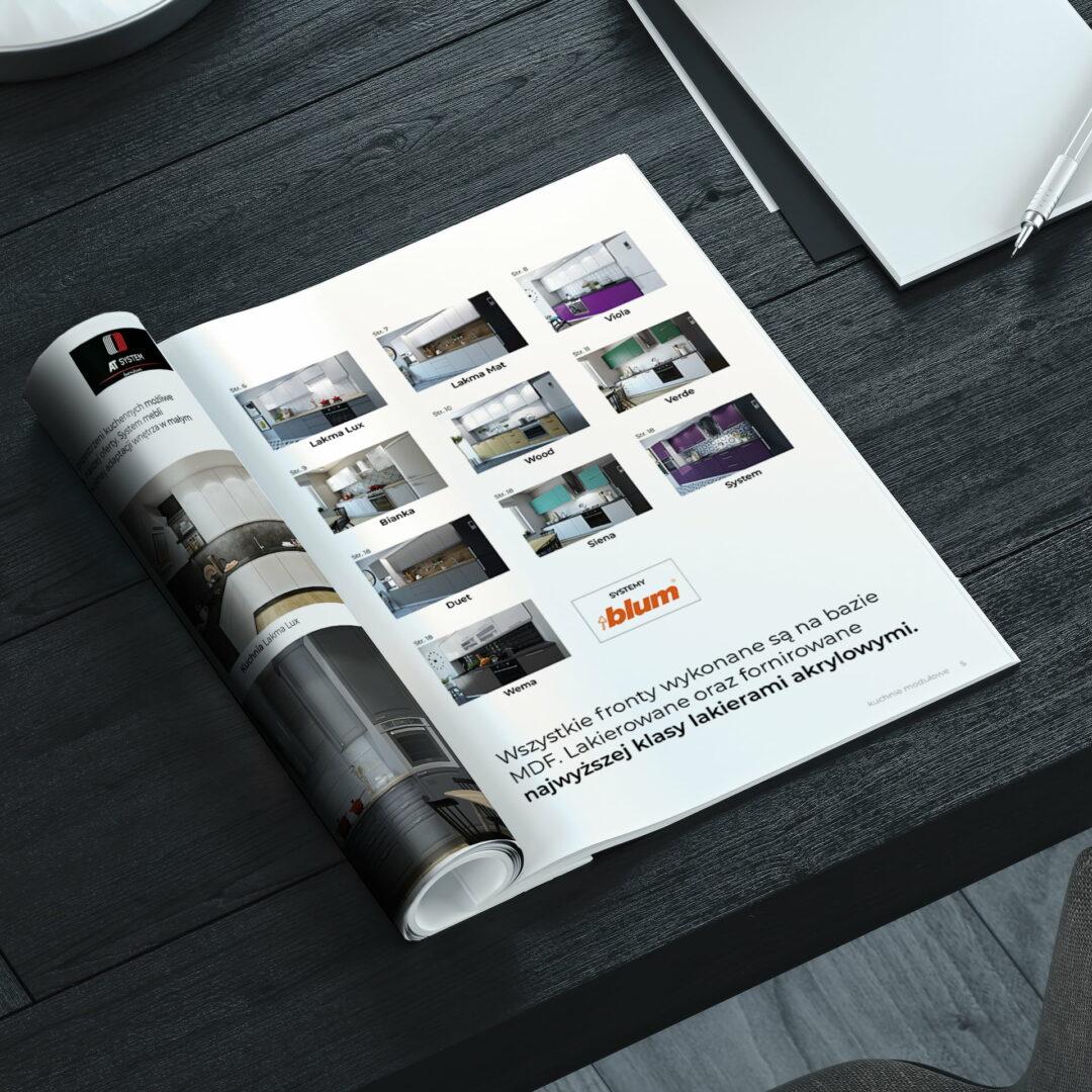Wizualizacja projektu graficznego katalogu mebli kuchennych Meblo Architektura