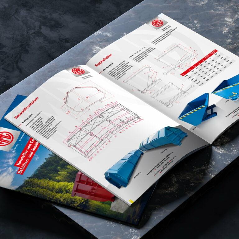 Projekt katalogu produktowego z kontenerami wykonany przez Studdio Graficzne Wzór #amg