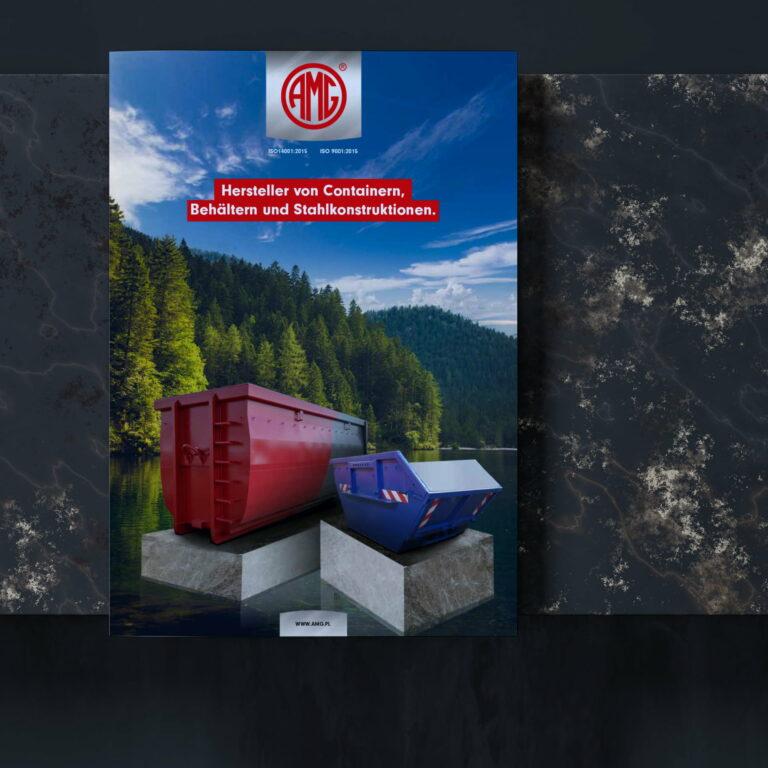 Projekt graficzny okładki katalogu produktowego z kontenerami #amg