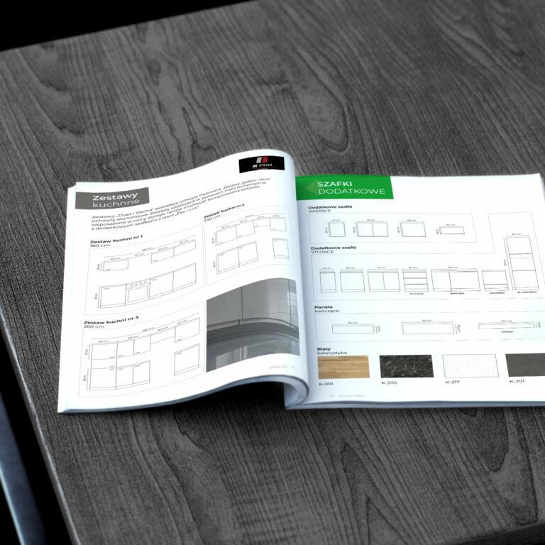 Projekt katalogu meblowego zaprojektowany przez Studio Graficzne Wzór dla klienta #meblo-architektura