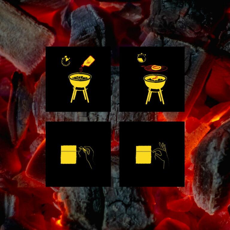 Ikony stworzone do projektu opakowania węgla drzewnego marki Charcoal Master