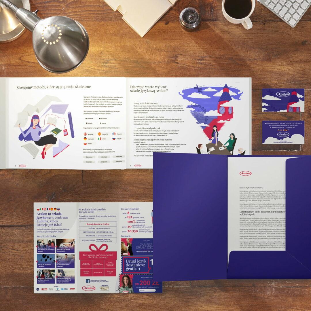 Prezentacja materiałów reklamowych zaprojektowanych przez studio Graficzne Wzór dla szkoły językowej Avalon