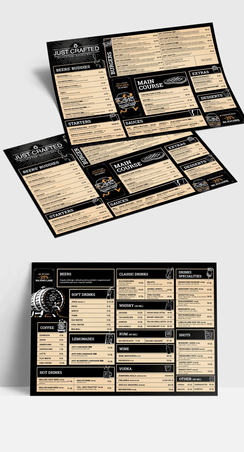 Wizualizacja projektu graficznego menu restauracji Just Crafted z piwami kraftowymi