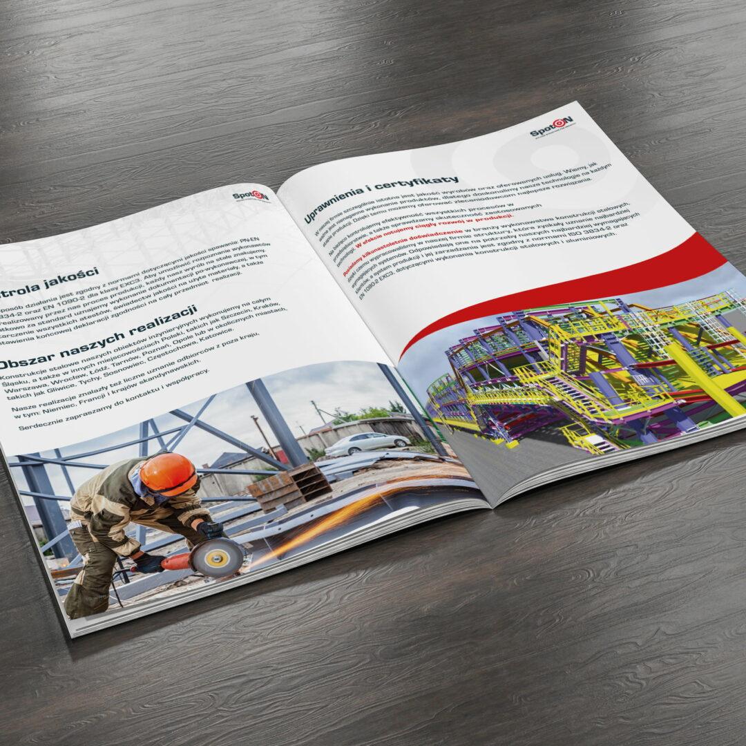 Katalog materiałów budowlanych firmy Spot-On, który leży otwarty na podłodze