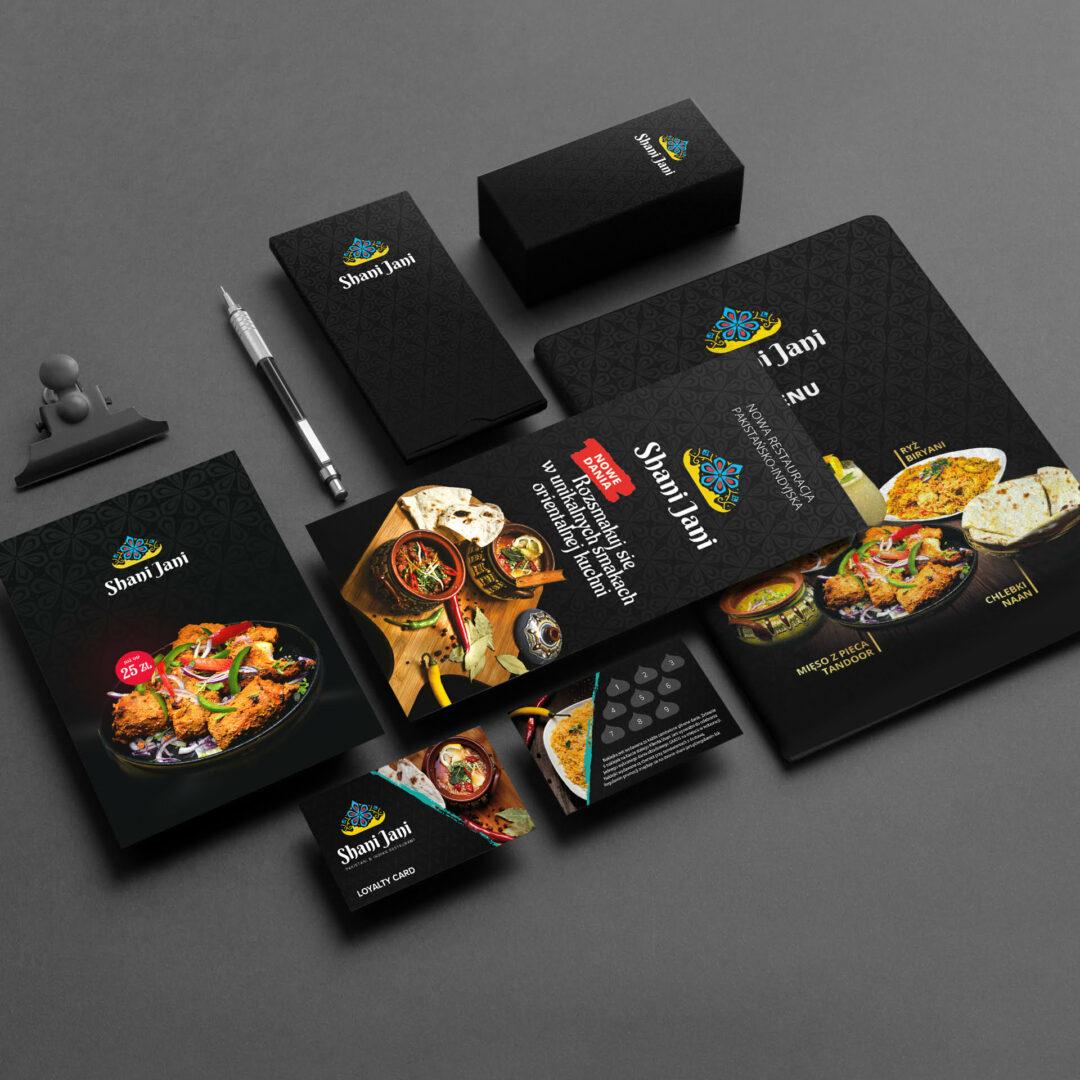 Projekty powstałe w ramach obsługi graficznej restauracji Shani Jani