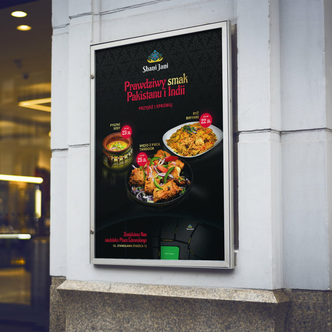 Prezentacja projektu plakatu restauracji Shani Jani