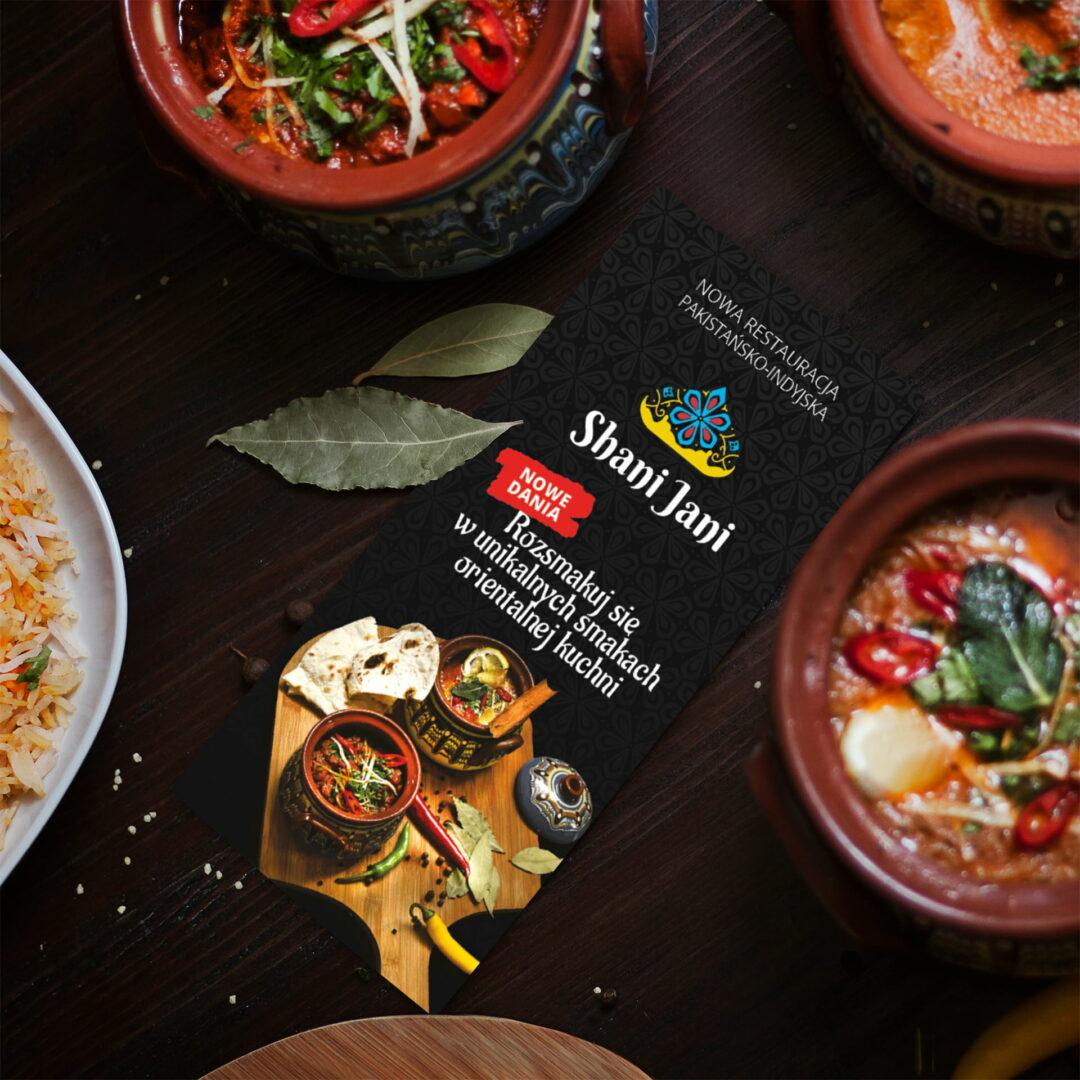 Wizualizacja ulotki restauracji Shani Jani