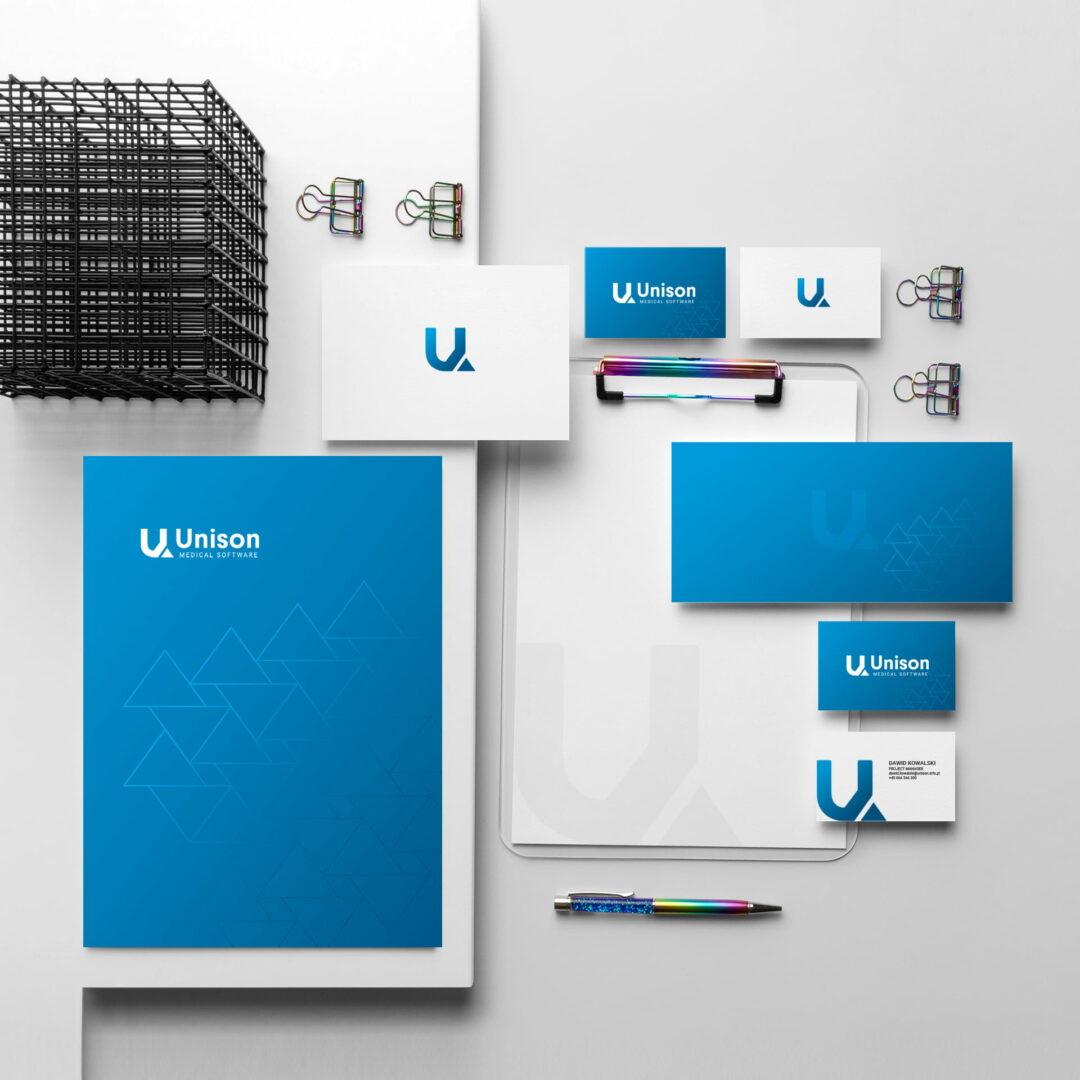Wizualizacja przedstawiająca identyfikację wizualną firmy Unison, która działa w branży IT
