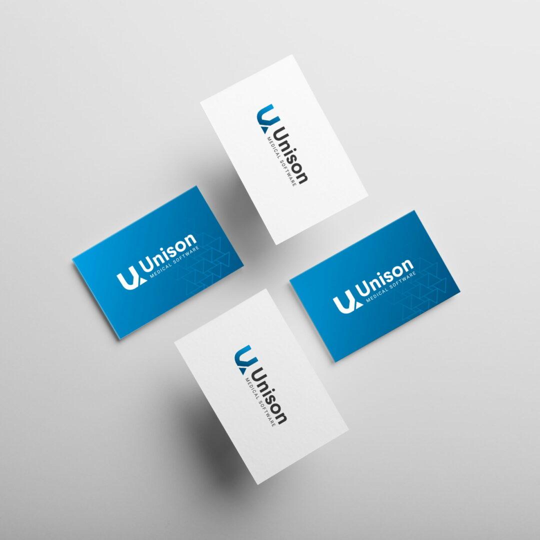 Projekt wizytówek dla firmy Unison, która prosperuje na rynku IT