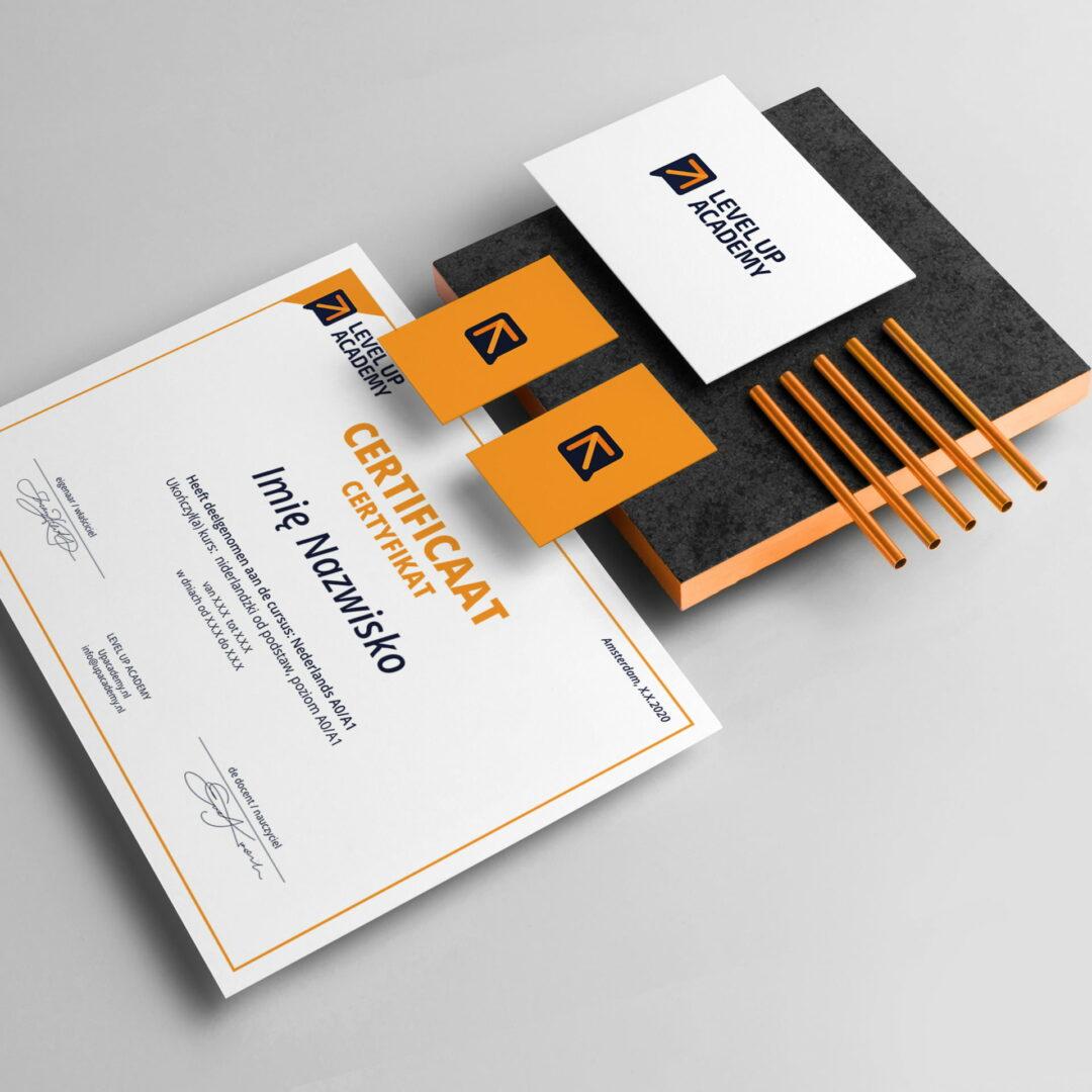 Projekty graficzne z logo firmy szkoleniowejLogo firmy szkoleniowej Level Up Academy