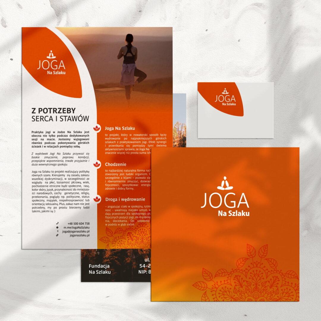 Projekty graficzne materiałów sprzedażowych marki Joga na Szlaku