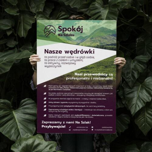 Prezentacja plakatu zaprojektowanego dla firmy turystycznej Spokój na Szlaku