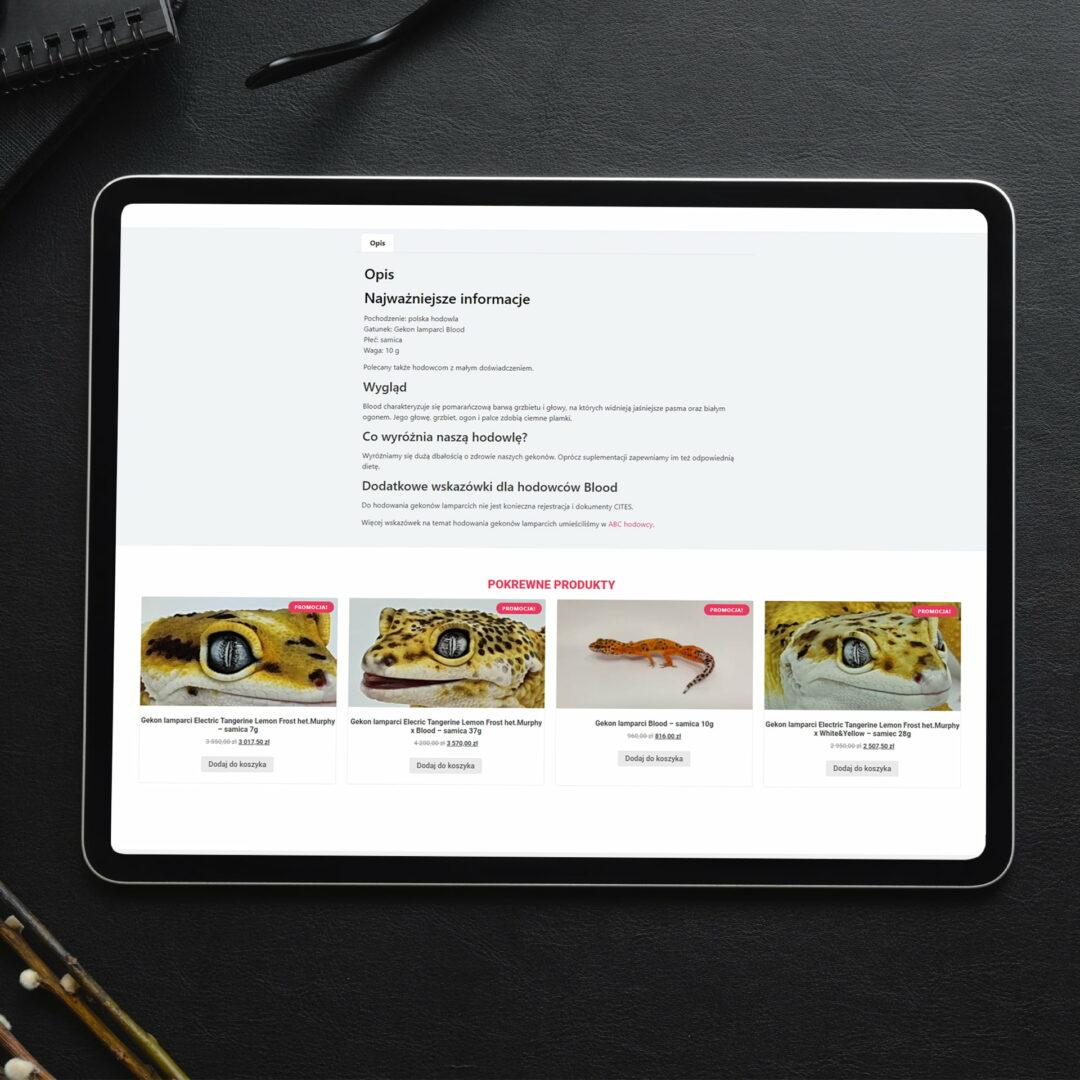 Strona internetowa ze zwierzętami Habitat Geckos wyświetlona na tablecie