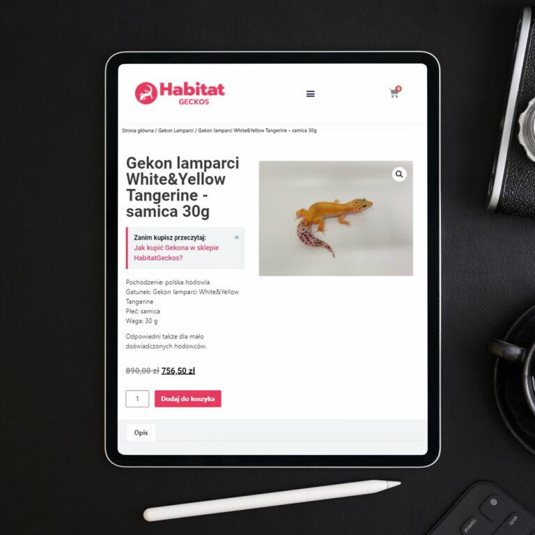 Strona internetowa ze zwierzętami firmy Habitat Geckos