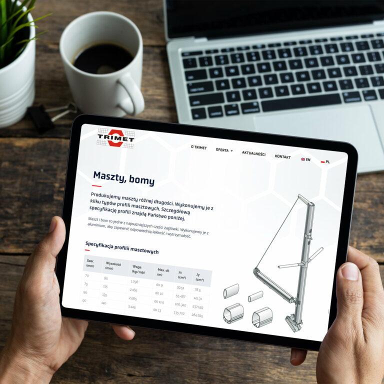 Projekt strony internetowej firmy Trimet, wyświetlona na tablecie