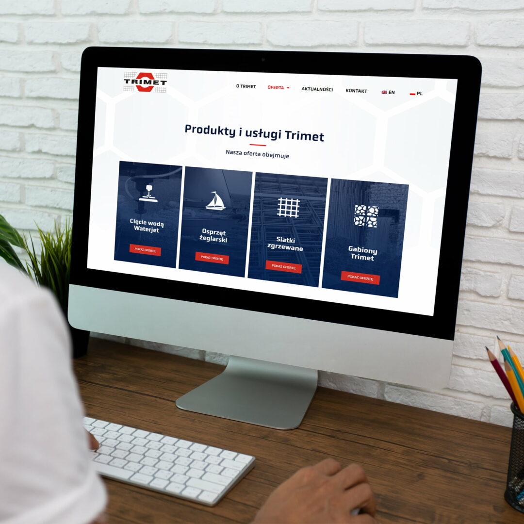 Prezentacja projektu strony www firmy Trimet, stworzonego przez Studio Graficzne Wzór