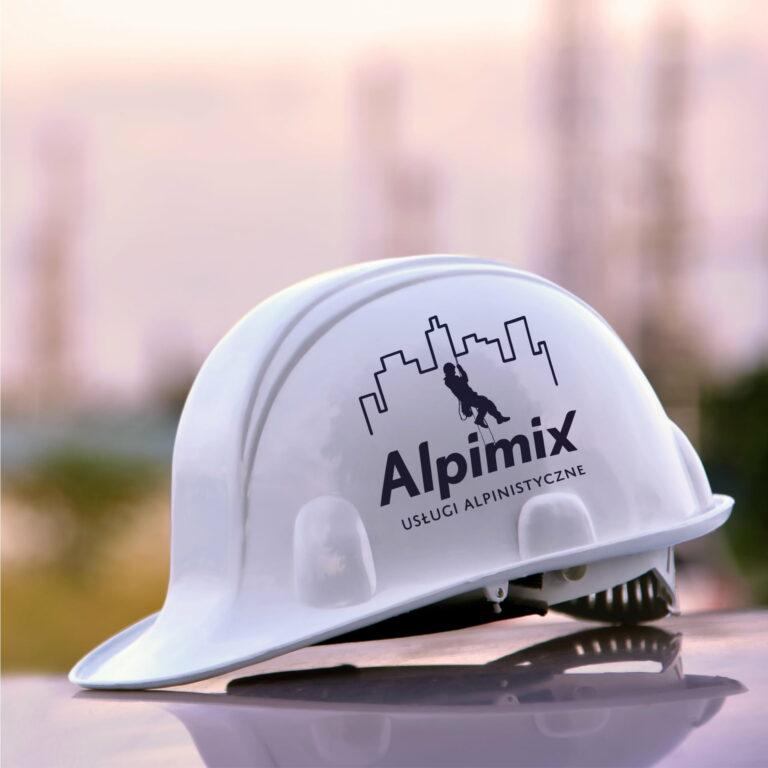 Kask z logo firmy Alpimix
