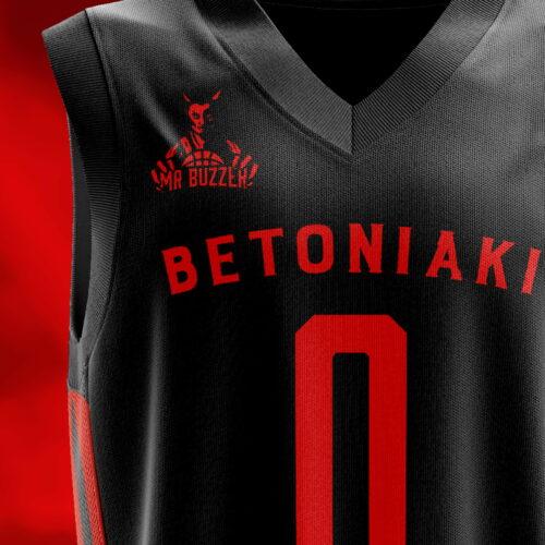 Koszulka koszykarska z projektem logo marki medialnej Mr Buzzer
