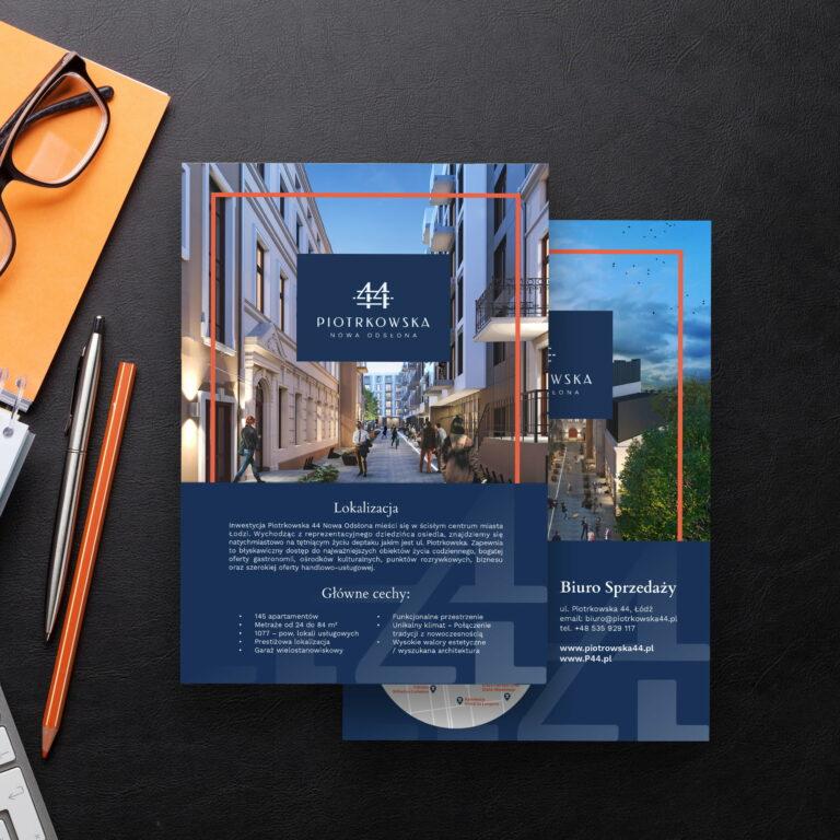 Projekt graficzny okładki folderu reklamującego mieszkania w kamienicy firmy Vision Invest