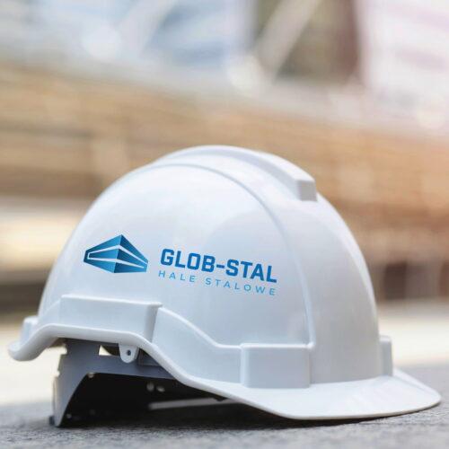 Kask z projektem logo firmy produkcyjnej #glob-stal